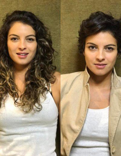 Tiago Parente corta cabelo curto para a atriz Ana Terra Blanco