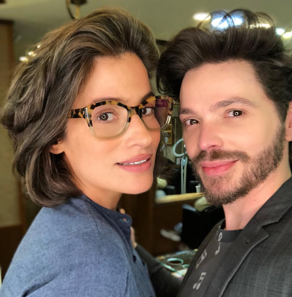 Tiago Parente com Renata Vasconcellos